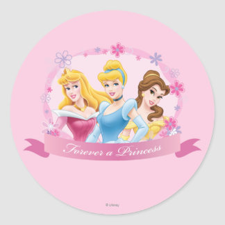 Para siempre una princesa pegatina redonda