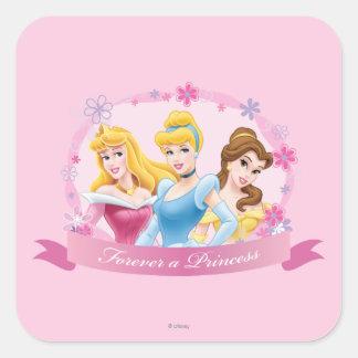 Para siempre una princesa pegatina cuadrada