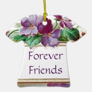 Para siempre violetas florales del vintage retro ornamento para arbol de navidad