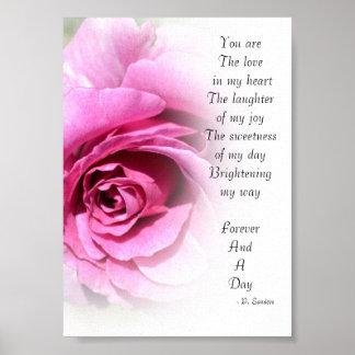 Para siempre y un poema del día con el rosa impresiones