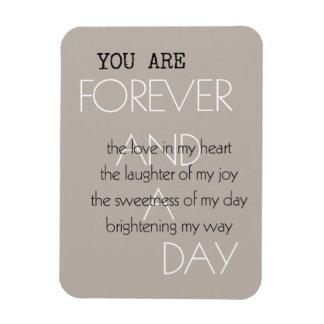 Para siempre y un poema del día iman de vinilo