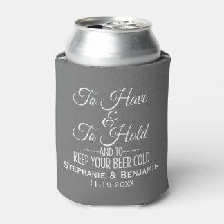 Para tener y asimiento y guardar su boda frío de enfriador de latas