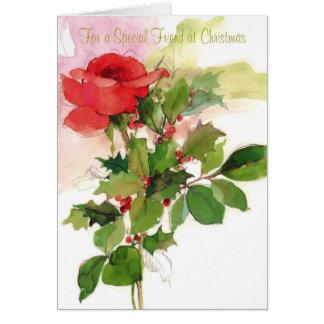 Para un amigo especial en el navidad tarjeta de felicitación