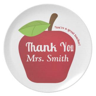 Para un gran profesor, manzana del aprecio del platos para fiestas