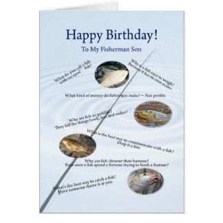 Para un hijo, pescando bromea tarjeta de cumpleaño