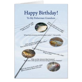 Para un nieto pescando bromea tarjeta de cumpleañ