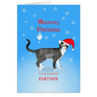 Para un socio, gato del navidad de Meowwy Tarjeta De Felicitación