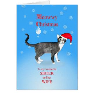 Para una hermana y una esposa, gato del navidad de tarjeta de felicitación