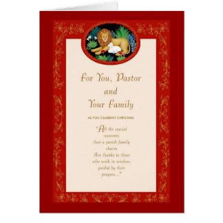 Para usted, el pastor y su familia tarjeta de felicitación