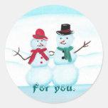 Para usted, gente de la nieve, pegatinas del pegatinas redondas