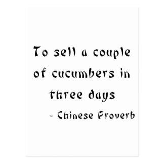 Para vender uces par de pepinos en tres días tarjetas postales