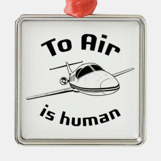 Para ventilar es humana adorno navideño cuadrado de metal