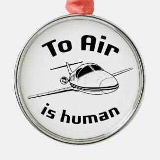 Para ventilar es humana adorno navideño redondo de metal