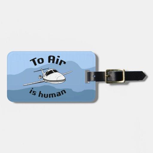 Para ventilar es humana etiqueta de equipaje