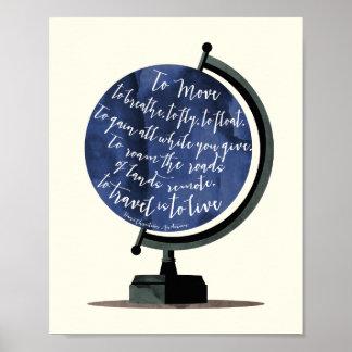 Para viajar es vivir impresión del globo de la póster