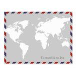 para viajar es vivir. worldmap postales