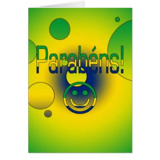 Parabéns! Brazil Flag Colors Pop Art Greeting Cards