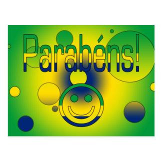 Parabéns! Brazil Flag Colors Pop Art Postcard