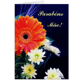 ¡Parabéns Mãe! ramo de Flores Tarjeta De Felicitación