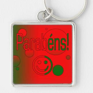 Parabéns! Portugal Flag Colors Pop Art Silver-Colored Square Keychain