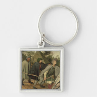 Parable of the Blind, detail of three blind Silver-Colored Square Keychain
