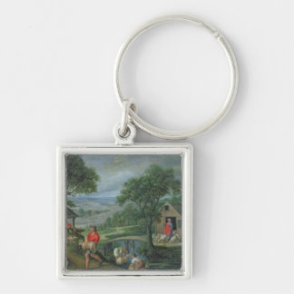Parable of the Good Shepherd, c.1580-90 Silver-Colored Square Keychain