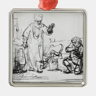 Parable of the ruthless creditor metal ornament
