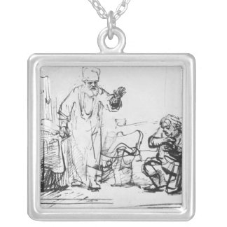 Parable of the ruthless creditor silver plated necklace