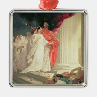 Parable of the Wise and Foolish Virgins, 1886 Square Metal Christmas Ornament