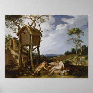 Parable of Wheat, Tares - Abraham Bloemaert (1624) Poster