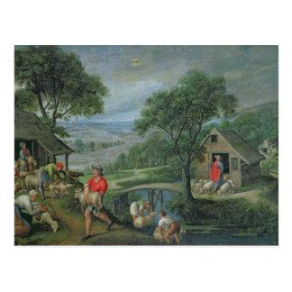 Parábola del buen pastor, c.1580-90 postal