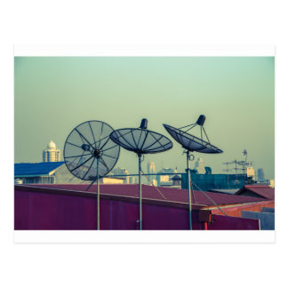 Parabolic antenna on the roofs of Bangkok Postcard