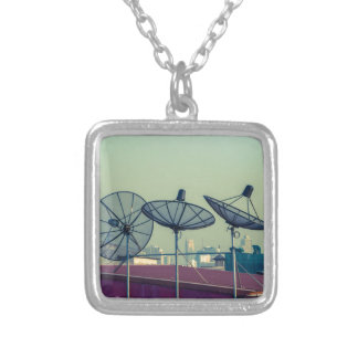 Parabolic antenna on the roofs of Bangkok Silver Plated Necklace
