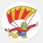 Paracaídas rojo de Skydive Yello Pegatina Redonda
