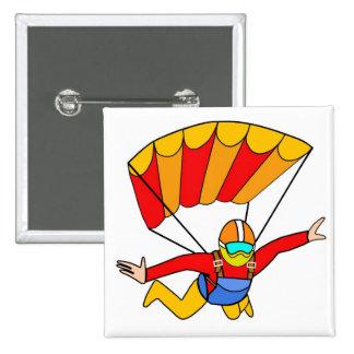 Paracaídas rojo de Skydive Yello Pin Cuadrada 5 Cm