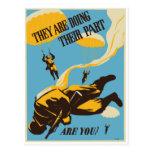 Paracaidista del vintage de WWII Postales