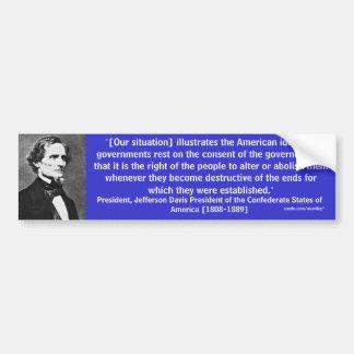 Parachoque 8 de presidente Jefferson Davis Etiqueta De Parachoque