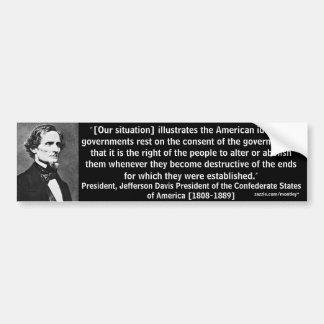Parachoque 9 de presidente Jefferson Davis Pegatina Para Auto