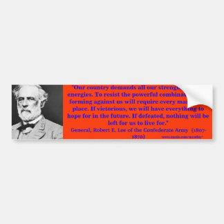 Parachoque de general Roberto E. Lee 2 Pegatina Para Auto