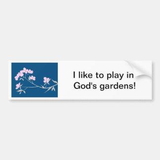 Parachoque de los flores de madera del perro del D Pegatina De Parachoque