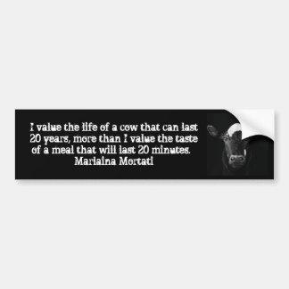 Parachoque negro de la vaca de los valores pegatina para auto