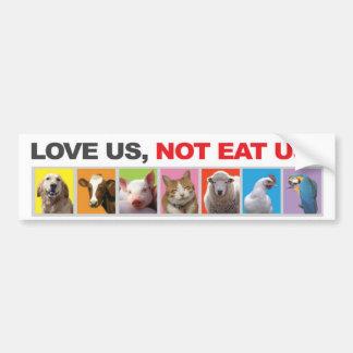 parachoque, pegatina, animales, vegetariano, amor pegatina de parachoque