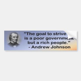 Parachoque pobre del gobierno de Johnson Pegatina Para Auto
