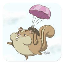 Parachute Chipmunk! Square Sticker
