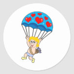 Parachute Cupid Round Stickers