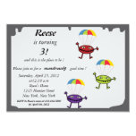 Parachute drop- monster birthday invitation-1 5x7 paper invitation card