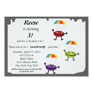 Parachute drop- monster birthday invitation-1 card