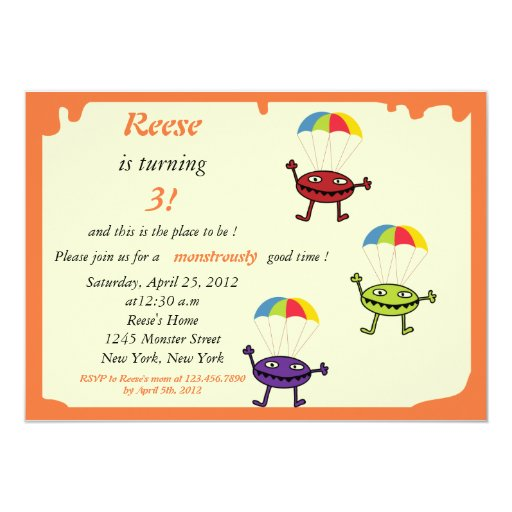 Parachute drop- monster birthday invitation-5 5x7 paper invitation card
