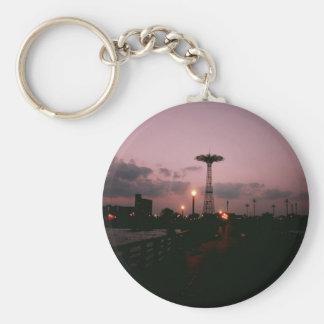 Parachute Jump, Coney Island at Sunset Keychain