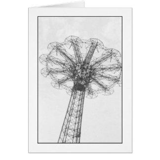 Parachute Jump Tower Blank Greeting Card
